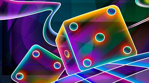 Preview wallpaper 3d, cube, dice, neon