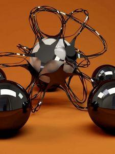 Preview wallpaper 3d, geometric, glass, metal, balls, shapes, plexus