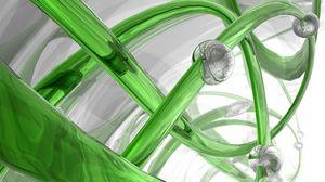 Preview wallpaper 3d, spiral, glass, green, white