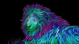 Preview wallpaper abstract, 3d, art, lion