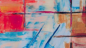 Preview wallpaper abstraction, lines, brushstrokes, canvas, colorful, modern art