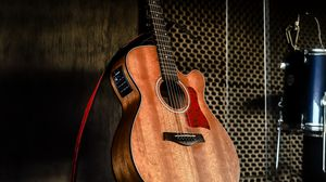 Preview wallpaper acoustic guitar, guitar, brown, musical instrument, music