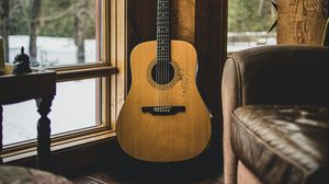 Preview wallpaper acoustic guitar, guitar, musical instrument, brown, wooden