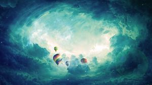 Preview wallpaper air balloons, surrealism, clouds, art