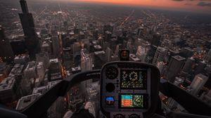 Preview wallpaper aircraft, aviation, aerial view, city, flight, cockpit, management