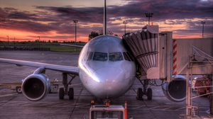 Preview wallpaper aircraft, aviation, sky, sunset