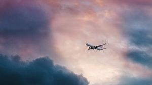 Preview wallpaper airplane, clouds, flight, sky