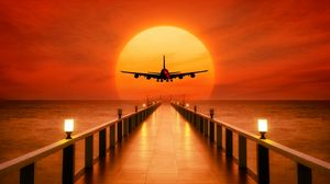 Preview Wallpaper Airplane Photoshop Sunset Wharf