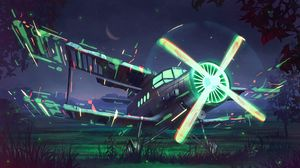 Preview wallpaper airplane, propeller, art, glow, night