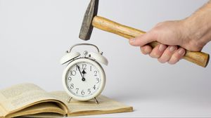 Preview wallpaper alarm clock, hammer, white
