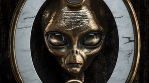 Preview wallpaper alien, head, metal, portrait, 3d