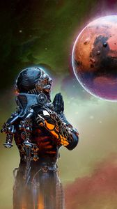 Preview wallpaper alien, planet, prayer, art, space