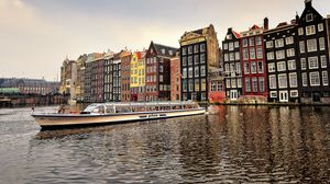 Preview wallpaper amsterdam, capital, netherlands, river, buildings, city