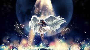 Preview wallpaper angel, flying, sky, beautiful