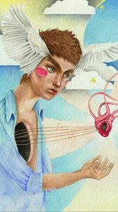 Preview wallpaper angel, heart, art, strings, imagination