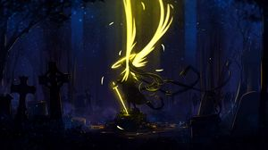 Preview wallpaper angel, wings, art, sword, dark, yellow