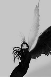 Preview wallpaper angel, wings, white, black, girl