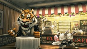 Preview wallpaper angry tiger cartoon, tiger, hare, cafes, food