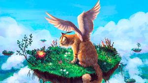 Preview wallpaper animal, fantasy, art, cat, wings