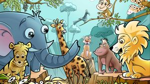 Preview wallpaper animals, cartoon, drawing