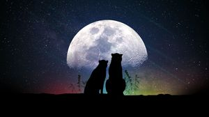 Preview wallpaper animals, moon, silhouettes, starry sky