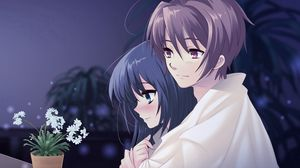 Preview wallpaper anime, boy, girl, pot, flower, hug, tenderness