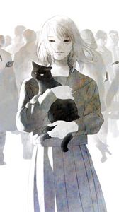 Preview wallpaper anime, cat, девушка, crowd, art