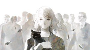 Preview wallpaper anime, cat, girl, crowd, art