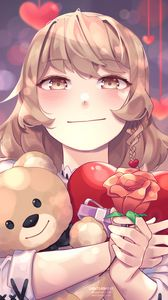 Preview wallpaper anime, girl, cute, flower