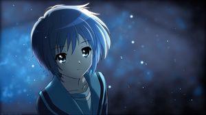 Preview wallpaper anime, girl, cute, lights, night