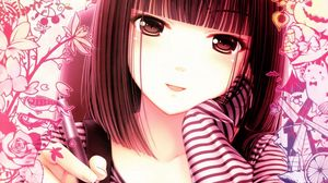Preview wallpaper anime, girl, face, pen, white, pink