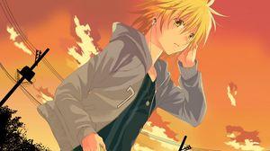Preview wallpaper anime, girl, headphones, sunset, evening