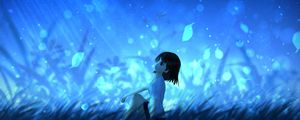 Preview wallpaper anime, girl, leaves, wind