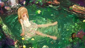 Preview wallpaper anime, girl, nature, water, sadness