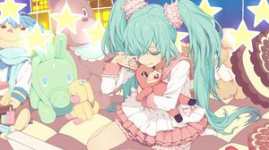 Preview wallpaper аnime, girl, tears, toys, sadness, room, bed