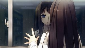 Preview wallpaper anime girl, window, reflection, drop, rain, look
