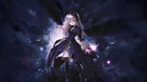 Preview wallpaper anime, girl, wings, flying, black