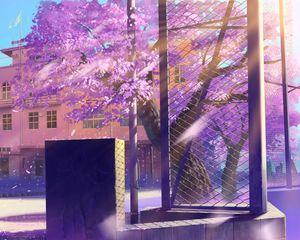 Preview wallpaper anime, school, winter street