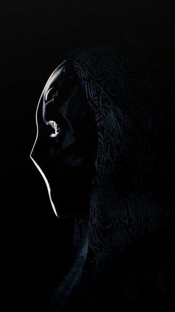 360x640 Wallpaper anonymous, mask, profile, dark