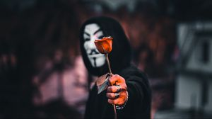Preview wallpaper anonymous, rose, flower, mask, hood