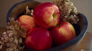 Preview wallpaper apples, fruit, red, hydrangea