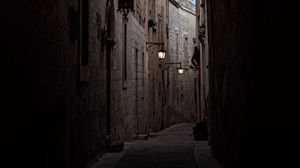 Preview wallpaper arch, buildings, architecture, alley, dark
