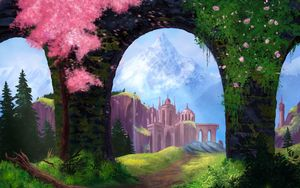 Preview wallpaper arch, castle, rocks, art