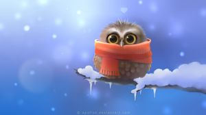 Preview wallpaper art, apofiss, owlet, owl, bird, scarf, branch, snow, heart