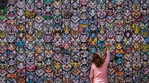 Preview wallpaper art, cats, wall, child