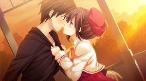 Preview wallpaper art, girl, boy, couple, kiss, sunset
