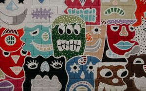 Preview wallpaper art, graffiti, wall, faces