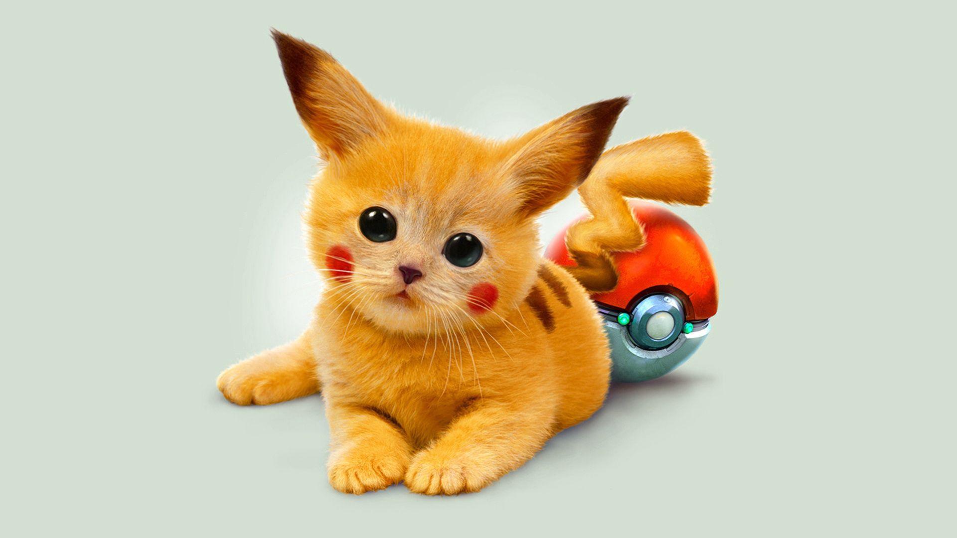 1920x1080 Wallpaper art, kitty, pokemon, red eyes, pikachu
