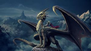 Preview wallpaper art, nick deligaris, dragon, rider, mountain, castle, tower