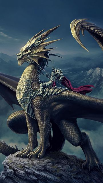 360x640 Wallpaper art, nick deligaris, dragon, rider, mountain, castle, tower